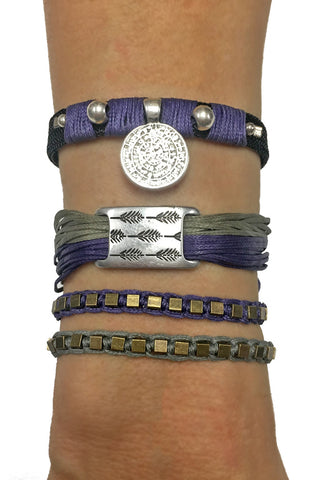 Mandy Campio Feather String Bracelet Violet/Sage
