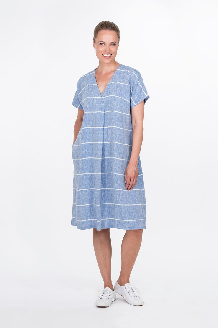 Ritva Falla Kielo Linen Dress Blue Stripe