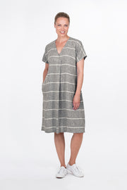 Ritva Falla Kielo Linen Dress Grey Stripe