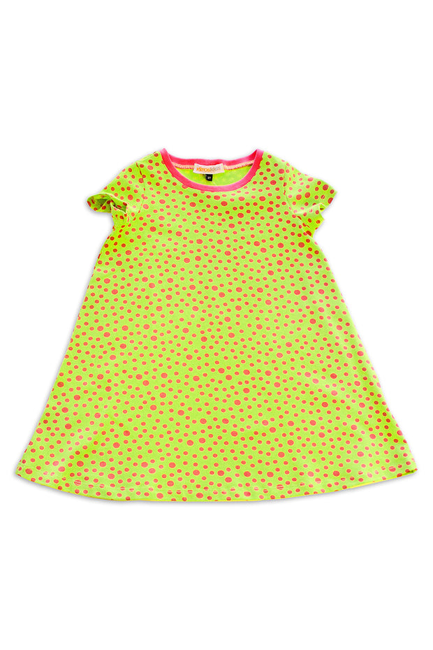 KIITOSlife KiitosKids Polka Dot Kids Dress Lime/Fuschia - KIITOSlife - 1