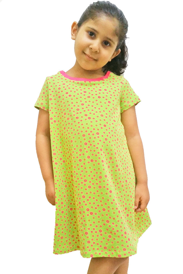 KIITOSlife KiitosKids Polka Dot Kids Dress Lime/Fuschia - KIITOSlife - 2