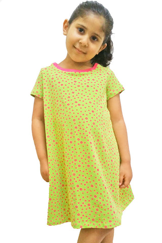 KiitosKids Polka Dot Kids Dress Lime/Fuschia