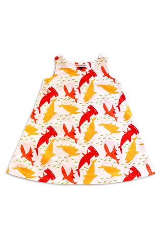 KiitosKids Shark Kids Dress White/Red/Yellow