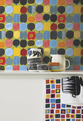 Marimekko  Kompotti Wallpaper Multi/Moss Green
