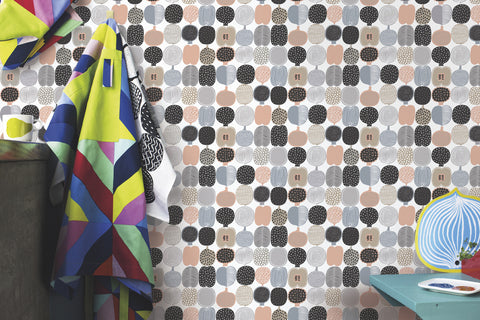 Marimekko  Kompotti Wallpaper Foggy Grey/Squash/White