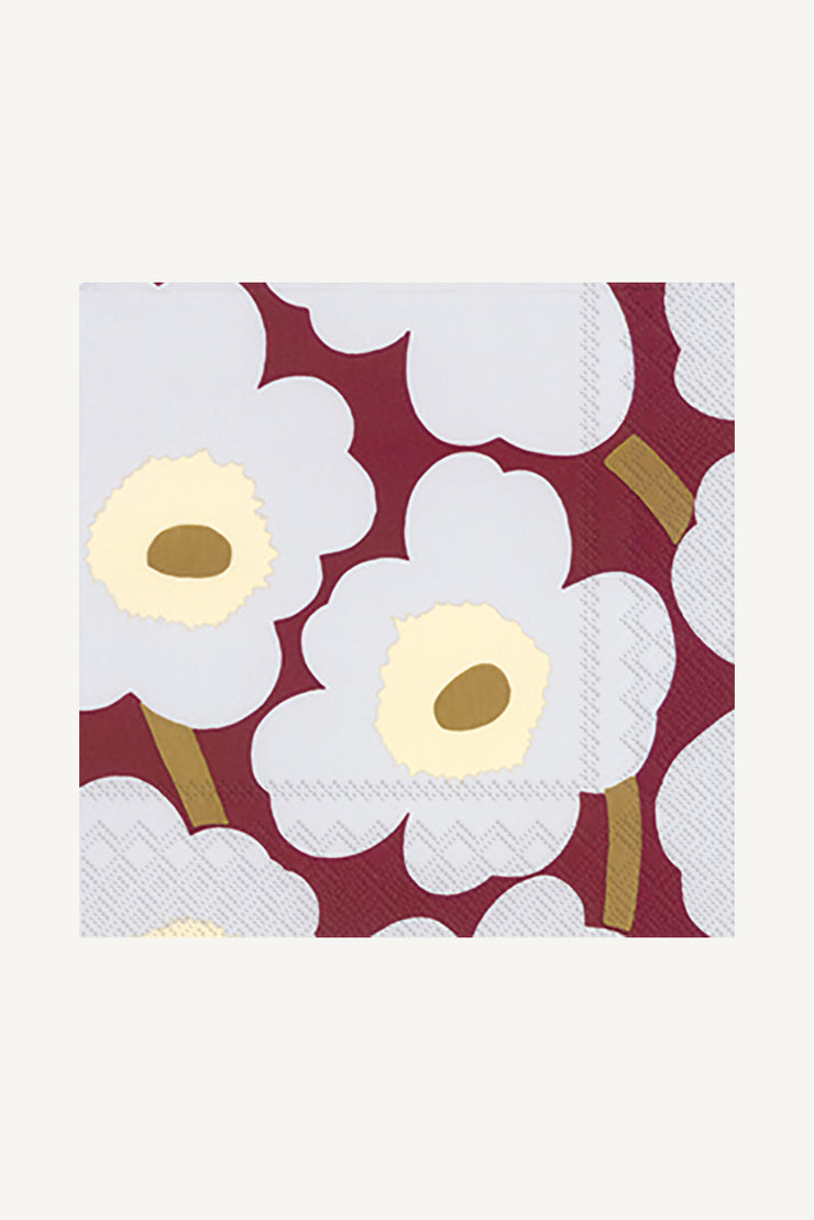 Marimekko Unikko Cocktail Napkins Bordeaux