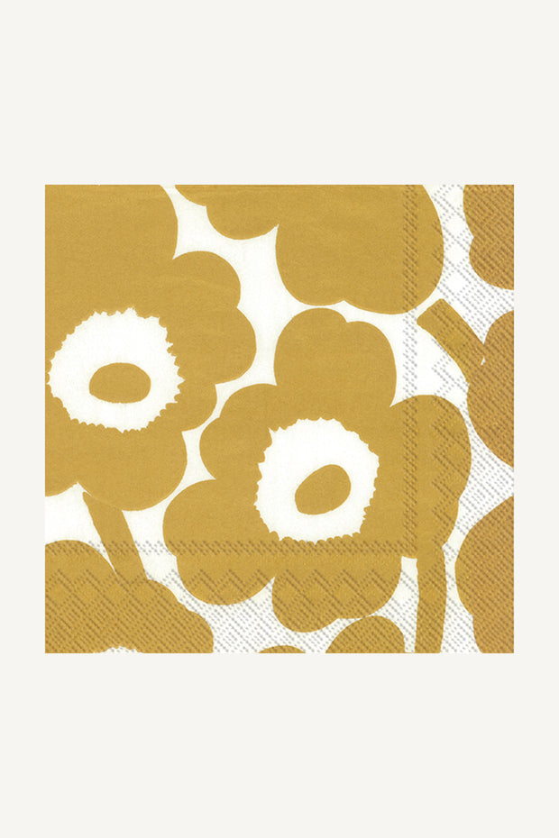 Marimekko Unikko Cocktail Napkins White/Gold