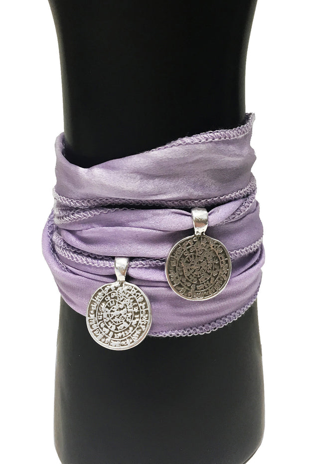 Mandy Campio Double Coin Silk Ribbon Bracelet Lilac