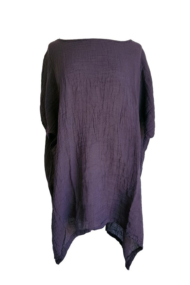 Kiitos Long Linen Gauze Top Purple
