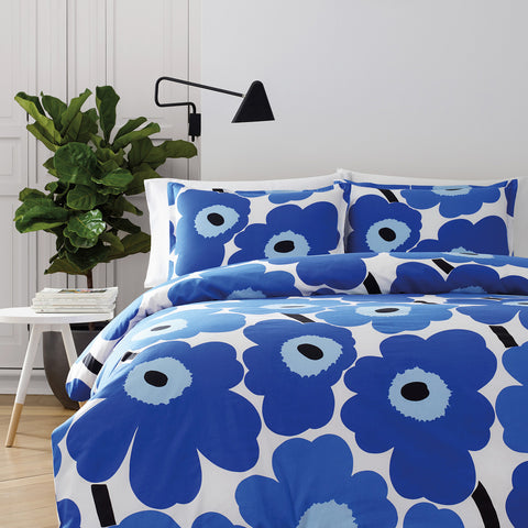 Marimekko Unikko US Sized Bedding True Blue/White