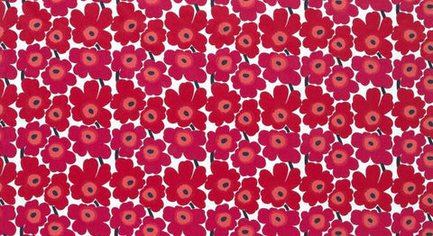 Marimekko Mini Unikko Oilcloth Fabric Red/Pink/White