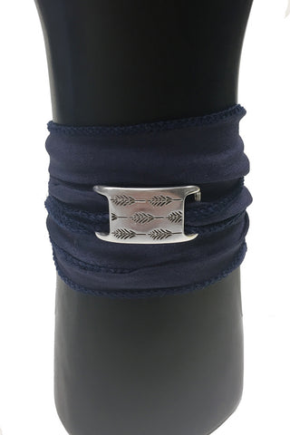 Mandy Campio Feather Silk Ribbon Bracelet Navy