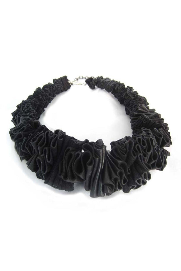 Frank Ideas Leather Ruffle Collar Necklace Black