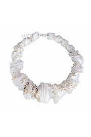 Frank Ideas Leather Ruffle Collar Necklace Cream