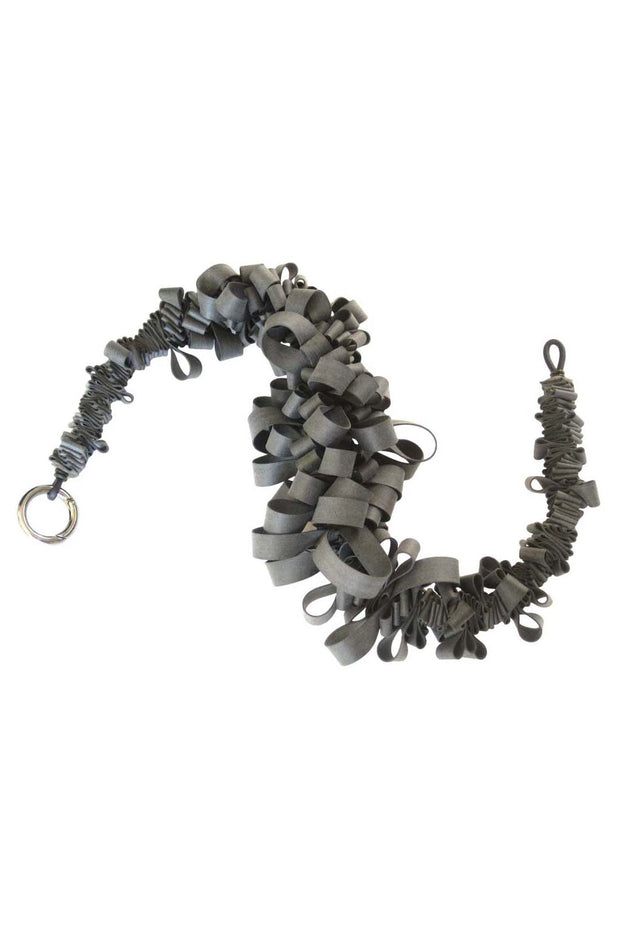 Frank Ideas Short Rubber Ruffle Collar Necklace Charcoal