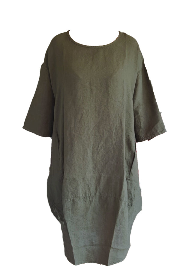 Kiitos Tulip Linen Dress Olive