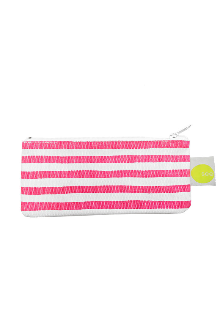 See Design Cosmetic Bag/Pencil Case Karma Stripe Pink/White