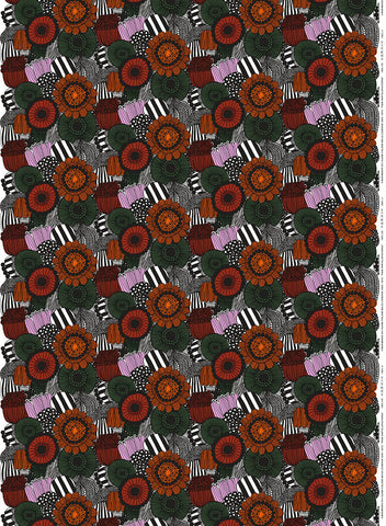 Marimekko Pieni Siirtolapuutarha Fabric White/Orange/Green
