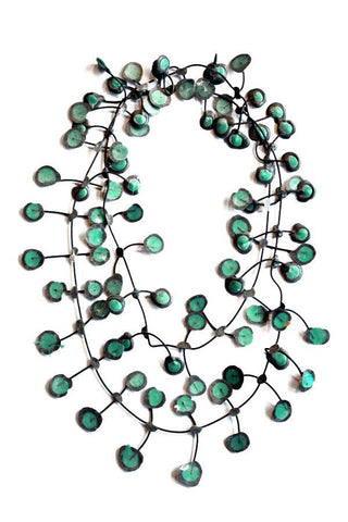 Annemieke Broenink Dubbel Pop Dot Necklace Metallic Green