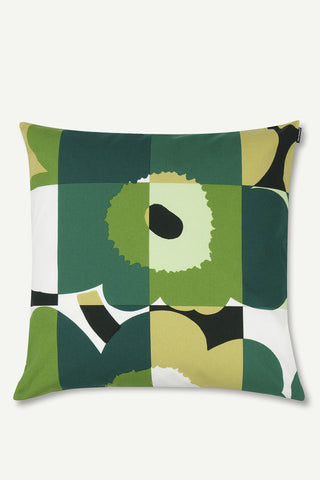 "Marimekko Ruutu-Unikko 20"" Pillow Cover Green/White"