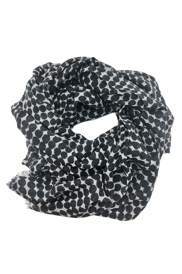 See Design Drops Wool Scarf Black/White