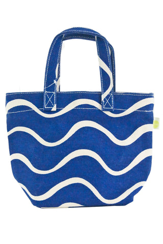 See Design Mini Square Tote Bag Wave Navy
