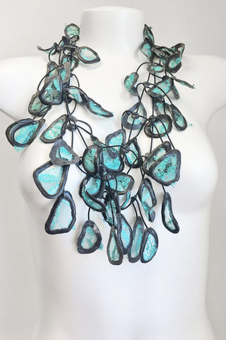 Annemieke Broenink Lace Leaf Necklace Summer Turquoise