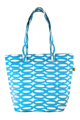 See Design Medium Square Tote Bag Rings Aqua/White