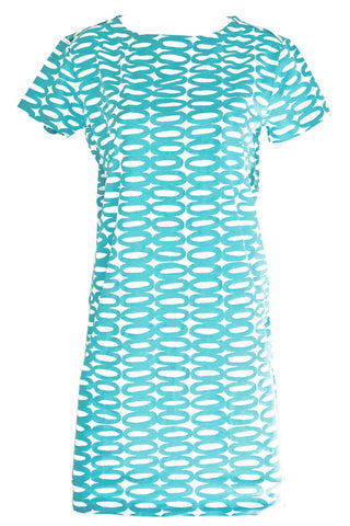 See Design Rings Dress Turquoise/White