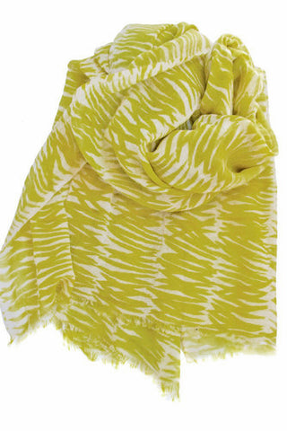 See Design Grasses Scarf Mustard/White