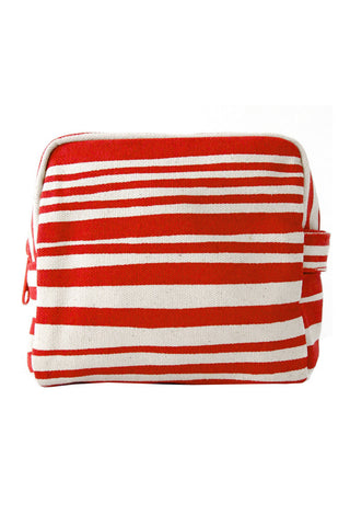 See Design Small Cosmetic Bag Layer Stripe Red/White