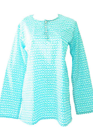 See Design Scallop Caftan Turquoise/White