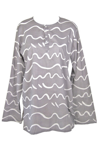 See Design Song Caftan Charcoal/White