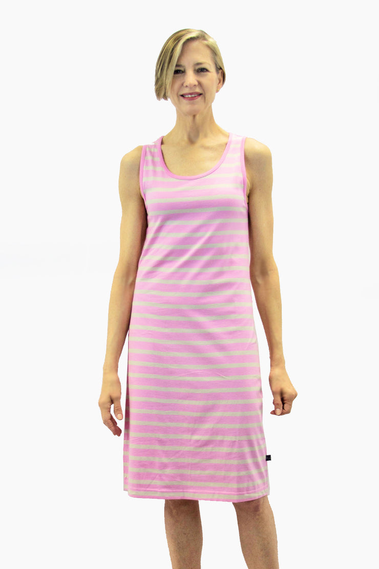 Ratia Short Striped Tank Dress Light Pink/Sand