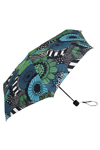 Marimekko Siirtolapuutarha Mini Manual Umbrella Black/Green