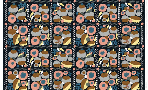 Marimekko Suovilla Cotton-Linen Fabric Black/Peach/Grey