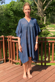 Nest Factory Block Print Kaftan w/Pockets Indigo Leaf