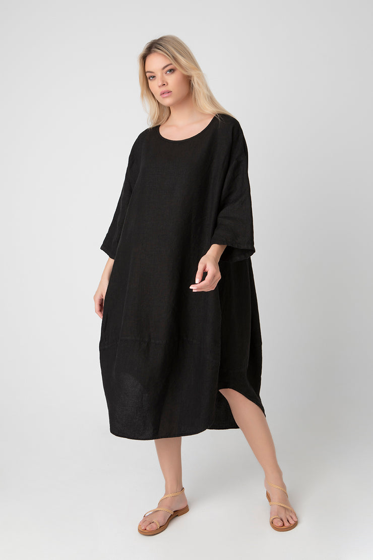 Kiitos Tulip Linen Dress Black