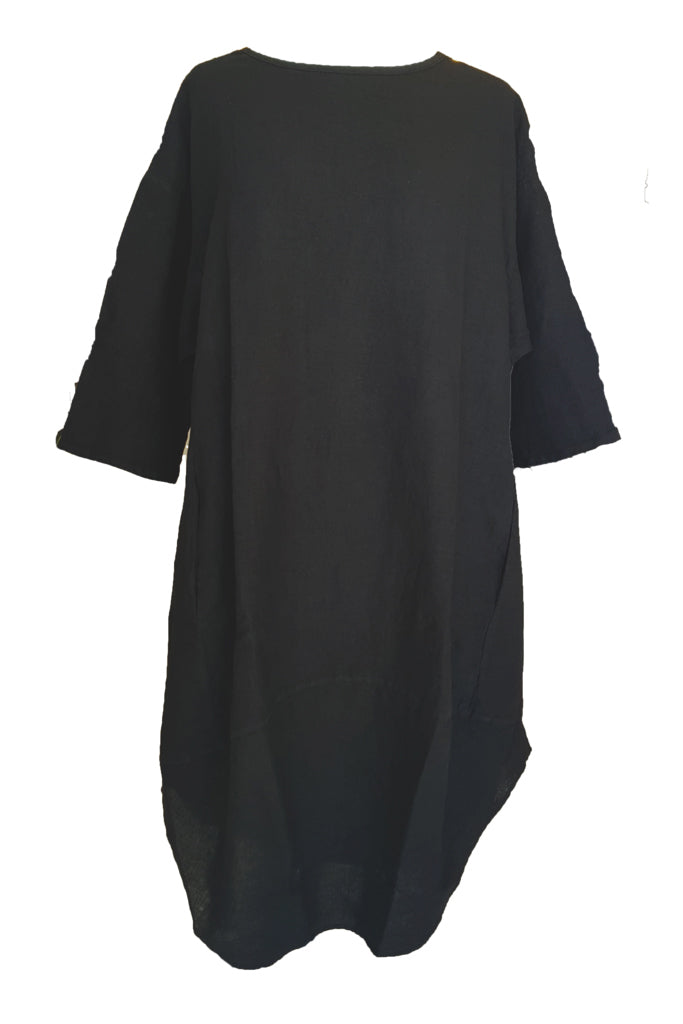 Kiitos Tulip Linen Dress Charcoal Grey