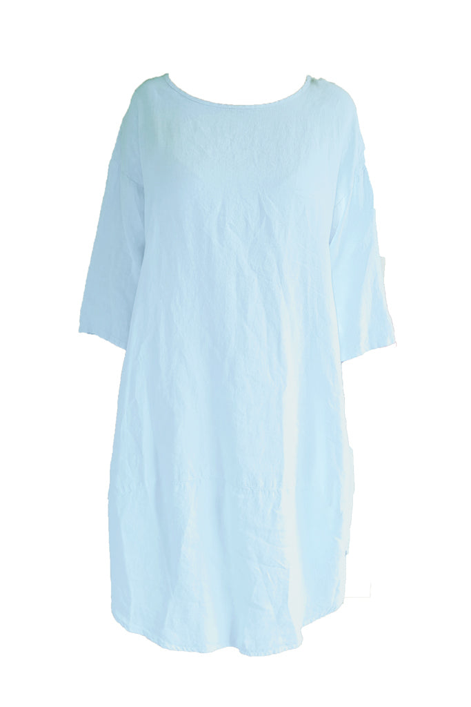 Kiitos Tulip Linen Dress Baby Blue