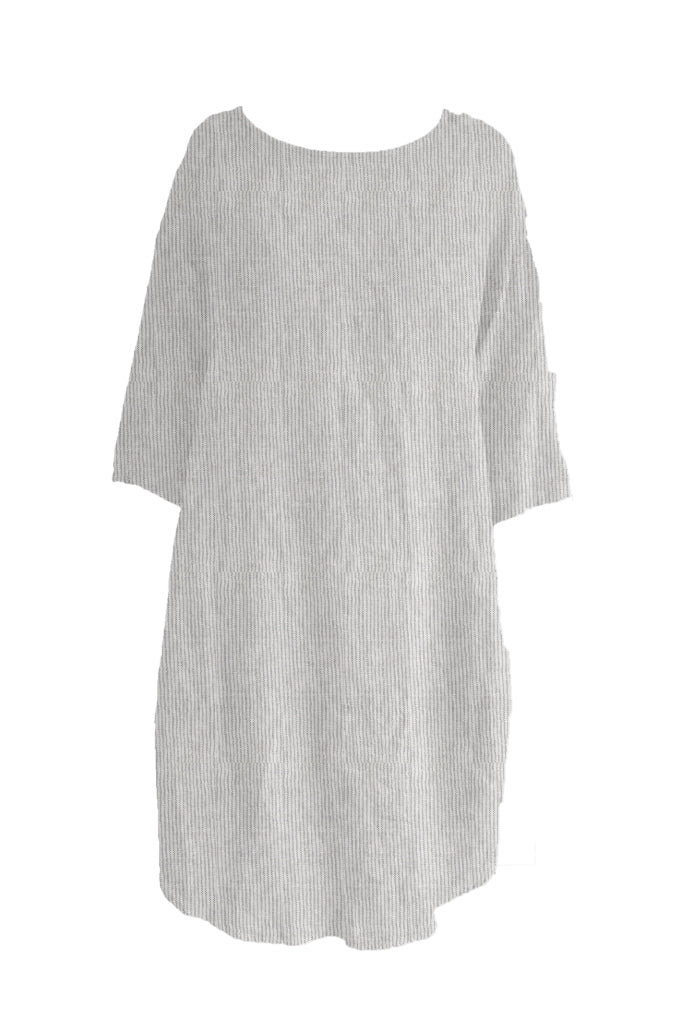 Kiitos Tulip Linen Dress White/Black Stripe