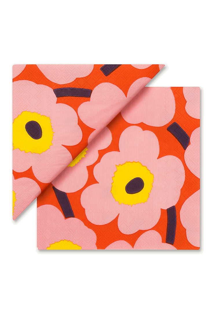 Marimekko Unikko Cocktail Napkins Rose/Orange