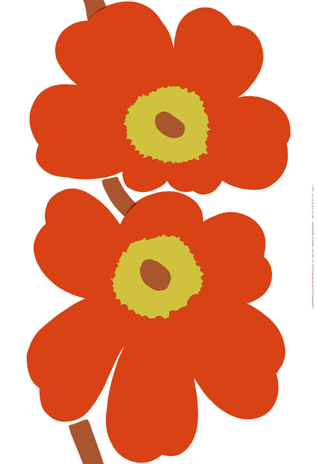 Marimekko Marimekko Unikko 50th Anniversary Sateen Fabric White/Orange/Brown - KIITOSlife