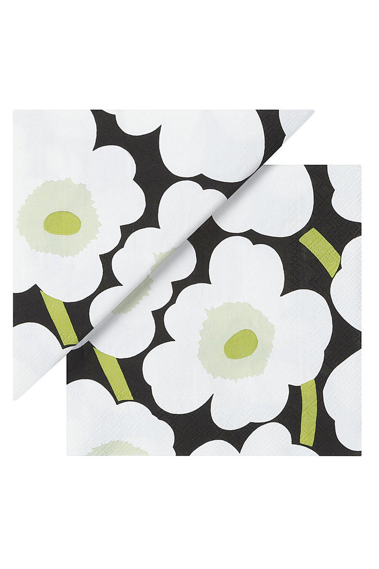 Marimekko Unikko Cocktail Napkins Black/White/Green
