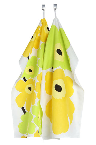 Marimekko Unikko/Pieni Unikko Tea Towels (Set of 2) Lime/Yellow/White