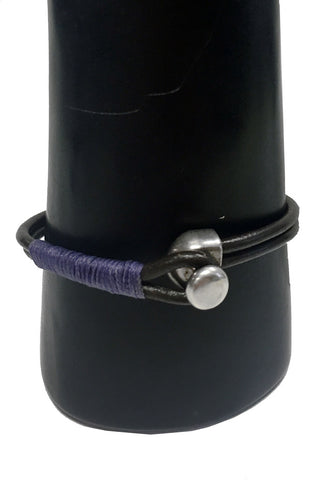Mandy Campio Leather Knob Bracelet Violet