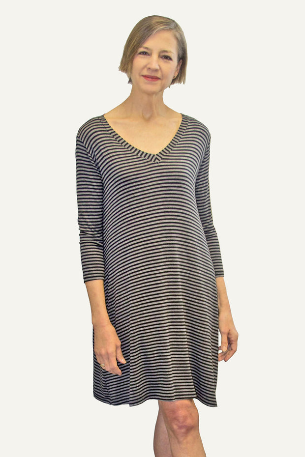 KIITOSlife Kiitoslife Striped Tunic Dress Grey/Black - KIITOSlife - 1