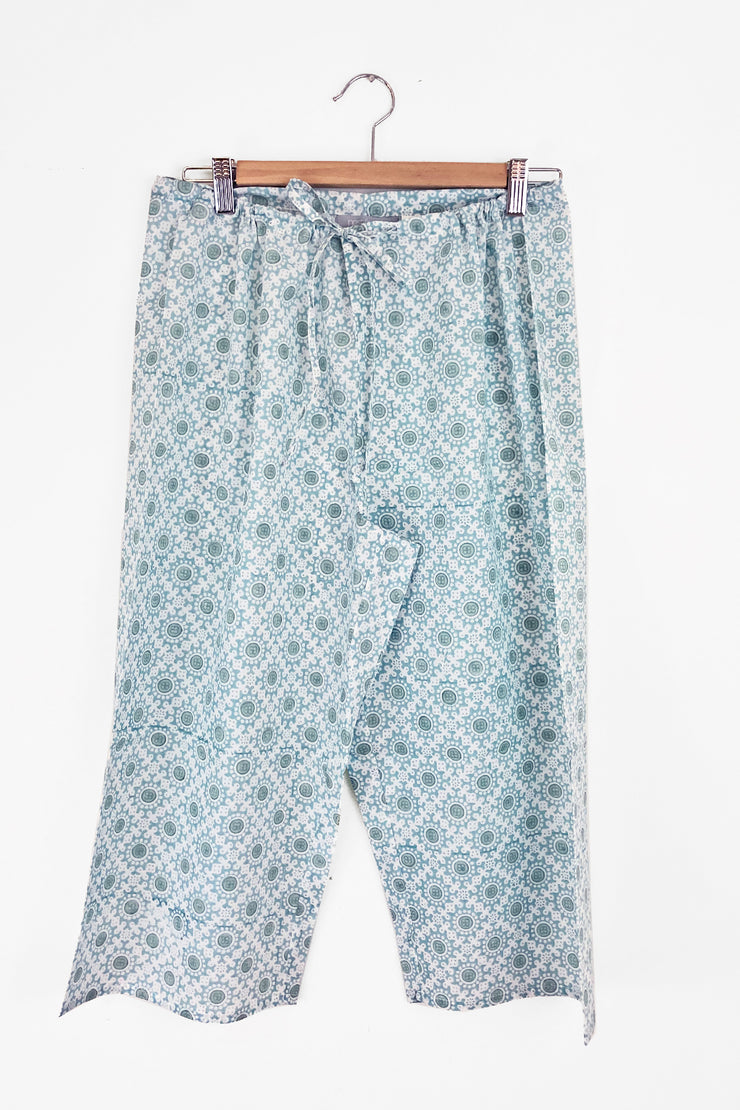 Nest Factory Block Print Capri Pants Turquoise