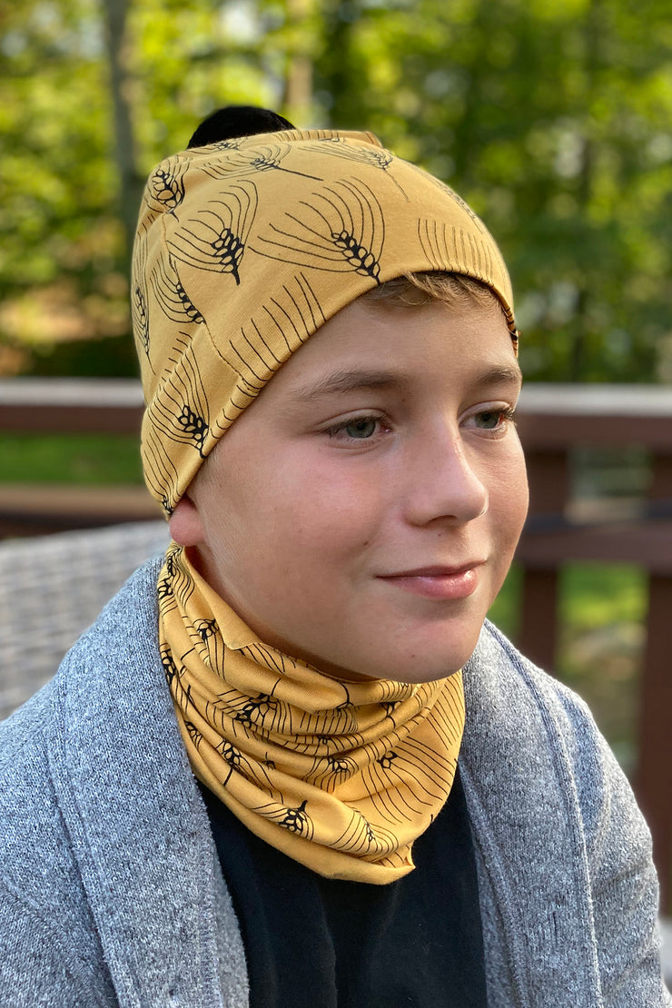 PaaPii Barley Pom Pom Beanie Ochre for Adults & Kids