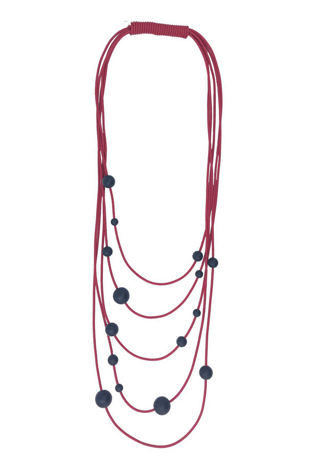 Frank Ideas Solar System Necklace Black on Red